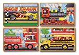 Toys : Melissa & Doug Vehicles 4-in-1 Wooden Jigsaw Puzzles in a Storage Box (48 pcs)