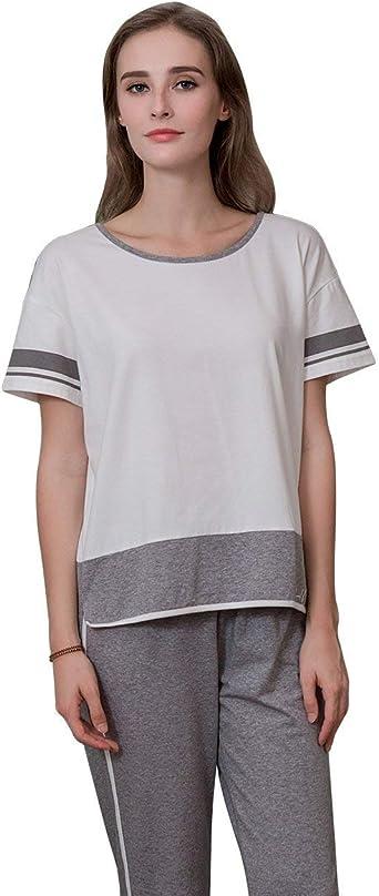 Conjunto De Pijama Mujer Moda Cintura Media Pantalones De Pijama Manga Corta Flecos O Cuello Anchos Casual Fashionista Camisas Tshirt: Amazon.es: Ropa y accesorios
