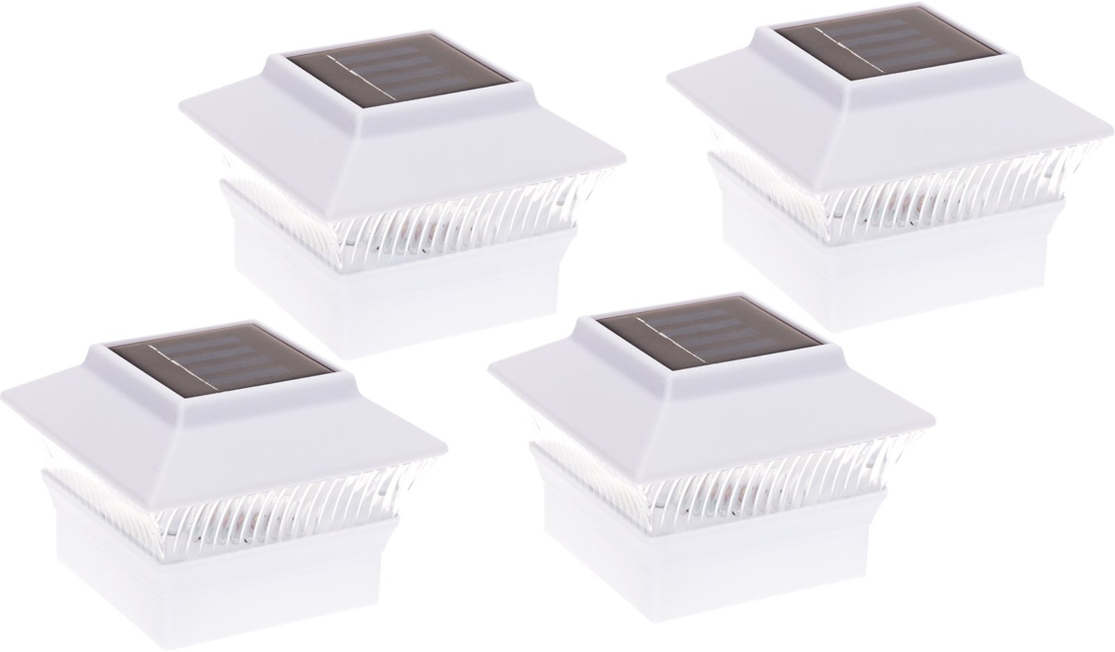 GreenLighting 4 Pack Solar Power Square Outdoor Post Cap Lights for 4x4 PVC Posts by (White)