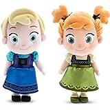 Disney Store Frozen Elsa & Anna Toddler Plush Dolls 12 Bundle of 2