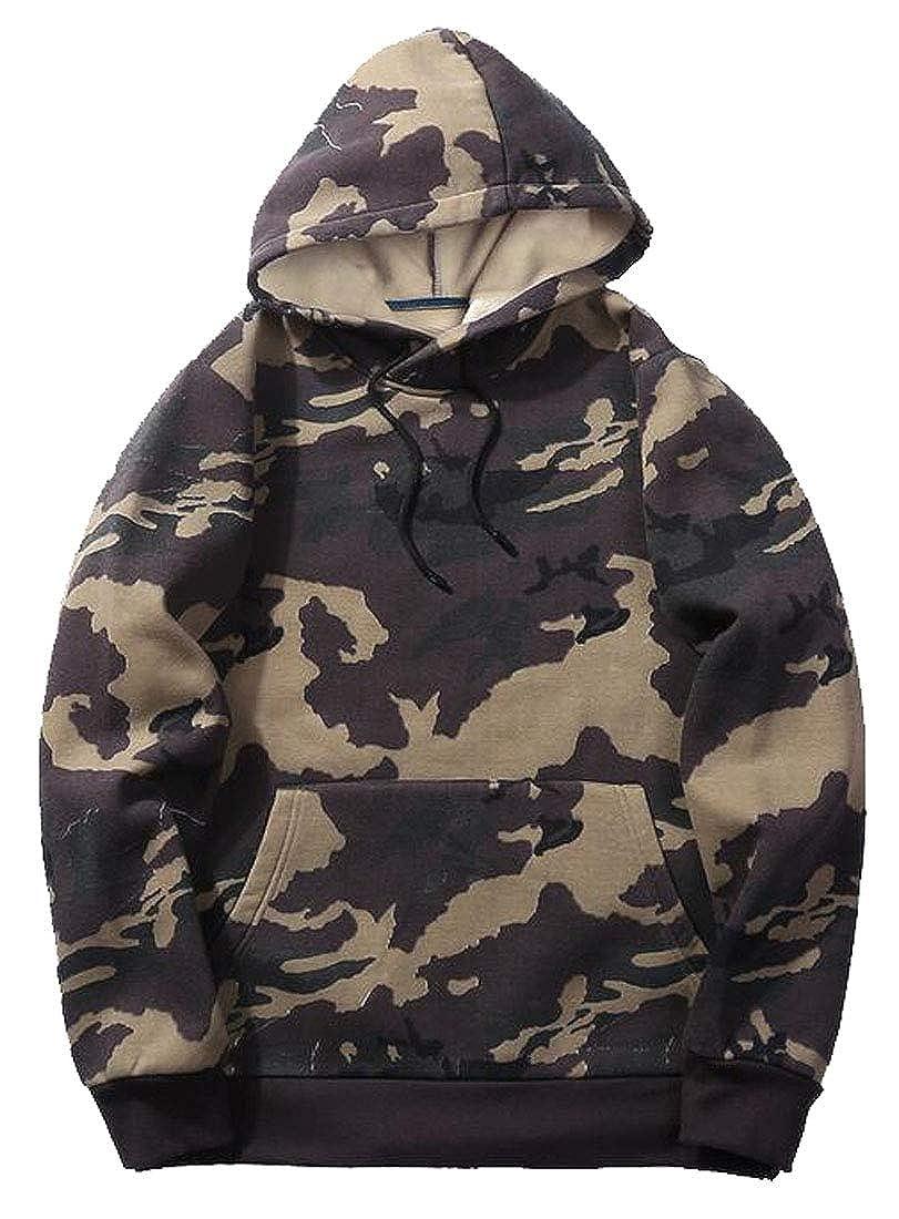 FSSE Mens Long Sleeve Camo Loose Pullover Hoodie Hooded Sweatshirts
