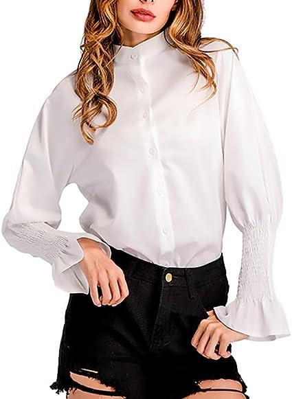 HaiDean Camisas Mujer Elegante Primavera Otoño Manga Larga Stand Cuello Blusas Modernas Casual Tops Anchas Casual con Volantes Mujeres Blanco Blusa: Amazon.es: Ropa y accesorios
