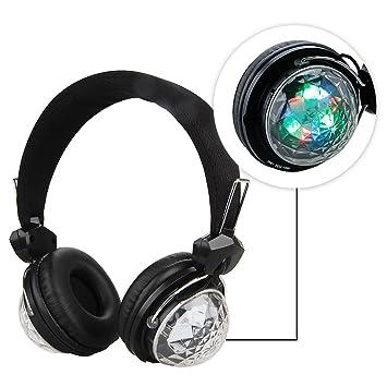 HD Excelvan Bluetooth 3,0 auriculares inalámbricos estéreo negro w/Luz LED FM Radio