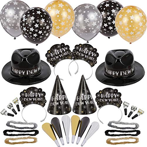 Amscan Ballroom Bash New Year's Party Kit for 50, Includes Fedoras, Cone Hats and Tiaras