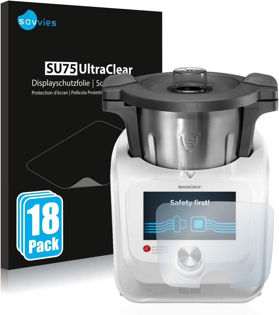savvies Protector Pantalla Compatible con SilverCrest Monsieur Cuisine Connect (18 Unidades) Pelicula Ultra Transparente: Amazon.es: Electrónica