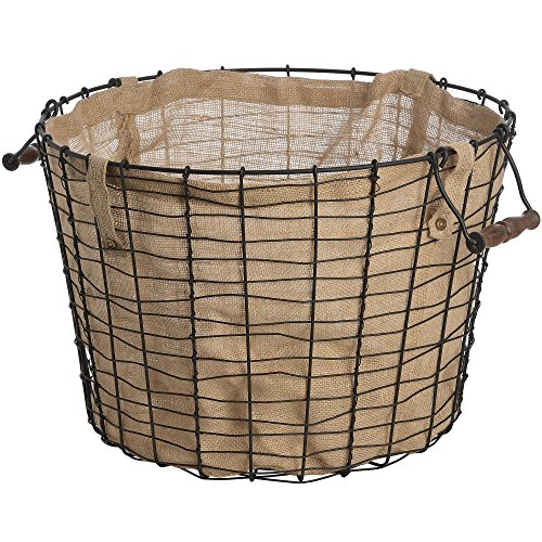 Hill Interiors Circular Wire Basket With Linen Lining (One Size) (Black/Brown)