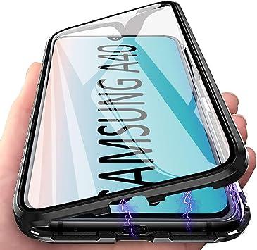 Funda Galaxy A40, Anfire Adsorción Magnética Carcasa, 360 Grados Delantera y Trasera de Transparente Vidrio Templado Case Metal Bumper Cubierta Cover para Samsung Galaxy A40, Negro: Amazon.es: Electrónica