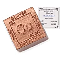 1 Pound Copper Cube Paperweight - 999 Pure Chemistry Design w/COA by CoinFolio