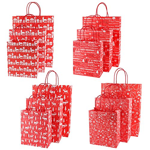 Looching Pack of 12 Christmas Gift Bags,4 Small, 4 Medium, 4 Large (Pattern Design May Vary) (Red)