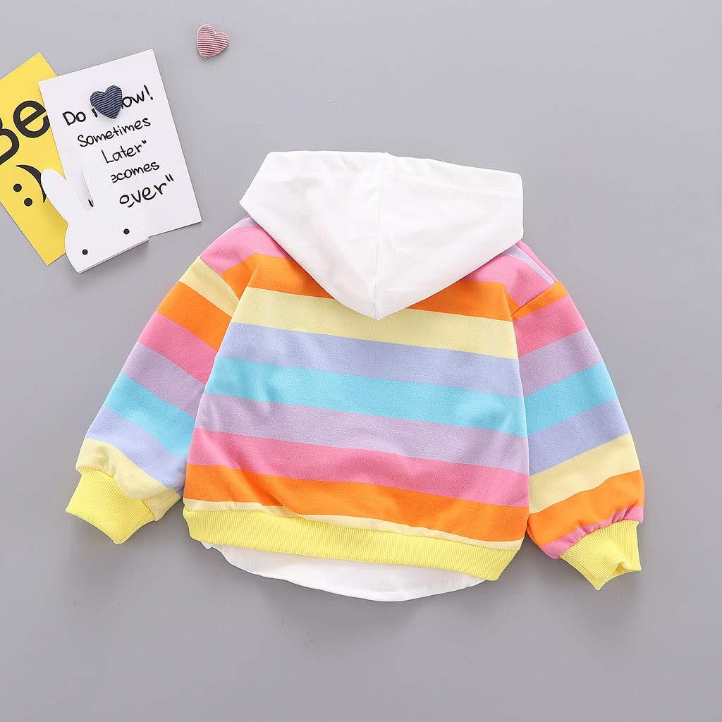 Baby Kleidung Kapuzenpullover Kaninchen Ohren Langarm Kleinkind Kinder Baby M/ädchen Gestreiften Regenbogen Cartoon Kapuzen Tops Sweatshirt Mantel Pwtchenty