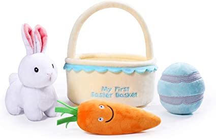 My First Easter Egg Basket Stuffed Plush Playset for Baby Kids Easter Theme Part