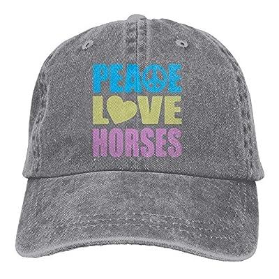 Denim Baseball Cap Peace Love Horses Unisex Snapback Caps Adjustable Plain Cap