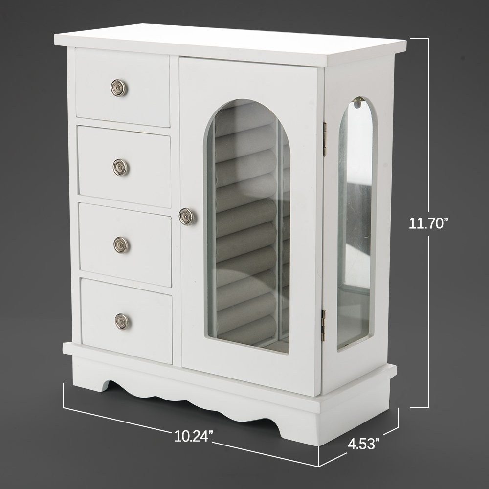 INART Wooden Jewelry Box Makeup and Accessories Organizer Girls Ring Storage with 4 Drawers and Swing Door, White Finish by INART (Image #7)