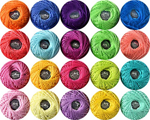 20 Colors Size 5 Crochet Thread