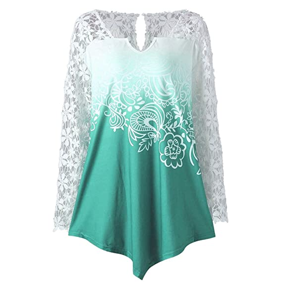 Qvyh Fashion Printing Lace Long Sleeve Casual Irregular Tops at Amazon Womens Clothing store: