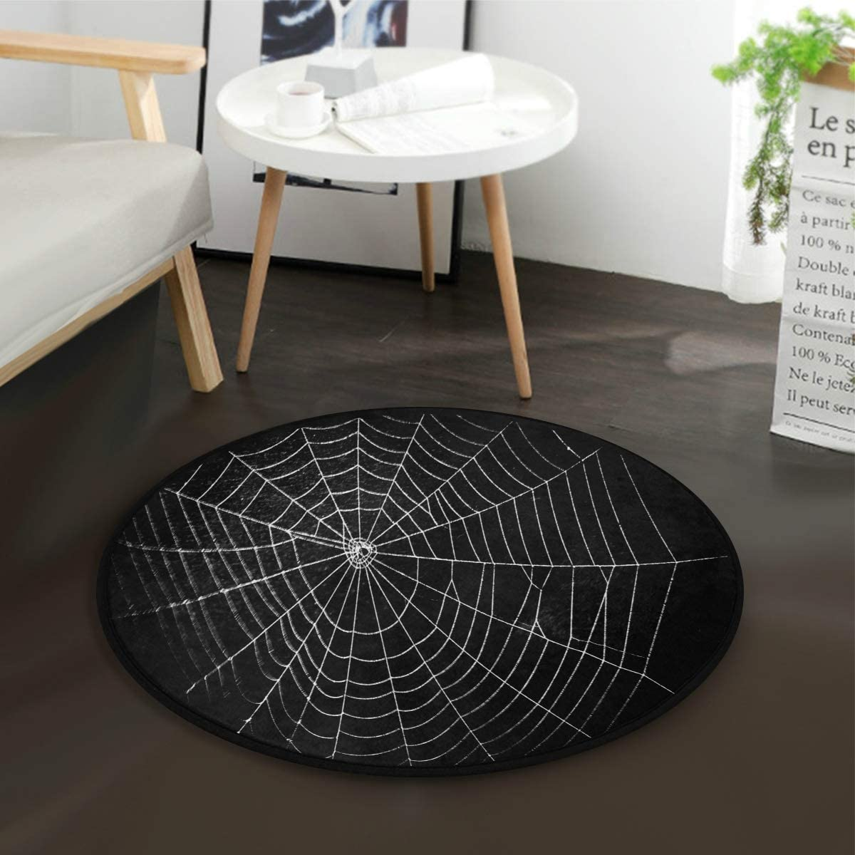 Amazon Com Alaza Halloween Spider Web Black Round Area Rug For Living Room Bedroom 3 Diameter 92 Cm Home Kitchen