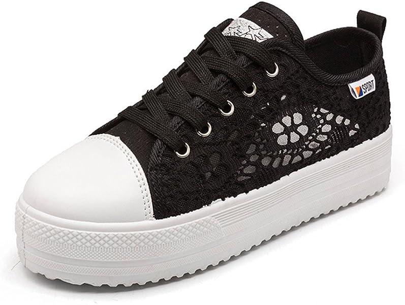 Plataforma Depotiva 42 3 Zapatos Mujer Zapatillas Verano 35 8cm Talón Blanco Negro WED2YHI9
