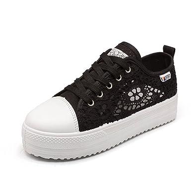 la meilleure attitude 0f36f c68da Vinstoken Chaussures Femme Plateforme ete Baskets Basse Sport Sneakers  Plateau 3.8cm Noir Blanc 35-42