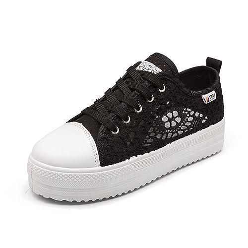 Zapatillas Mujer Plataforma Verano Depotiva Zapatos Talón 3.8cm Negro Blanco 35-42: Amazon.es: Zapatos y complementos