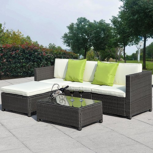 5PC Outdoor Patio Sofa Set Sectional Furniture PE Wicker Rattan Deck Couch Brown + FREE E-Book (Rattan Furniture Bugs)