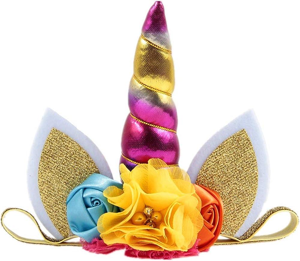 Nishine Toddler Baby Girls Layered Tutu Skirt Dress with Glitter Unicorn Horn Headband Outfit for Birthday Party