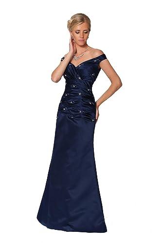 Herrliches Perlen weg von der Schulter Lange Midnight Blue Formal Abendkleid - ED8885