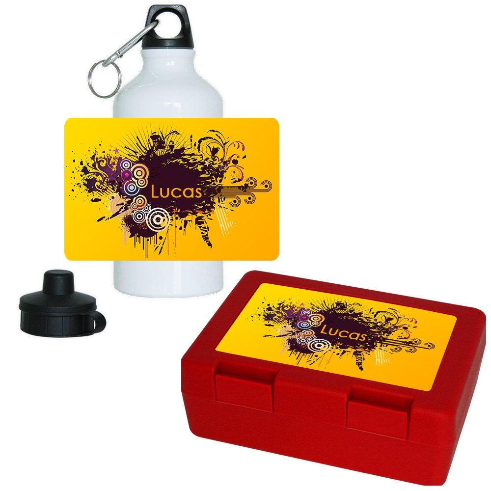 Brotdose + Trinkflasche Set mit Namen Lucas und schönem Motiv mit Kreisen für Jungs - Aluminium-Trinflasche - Lunchbox - Vesperbox