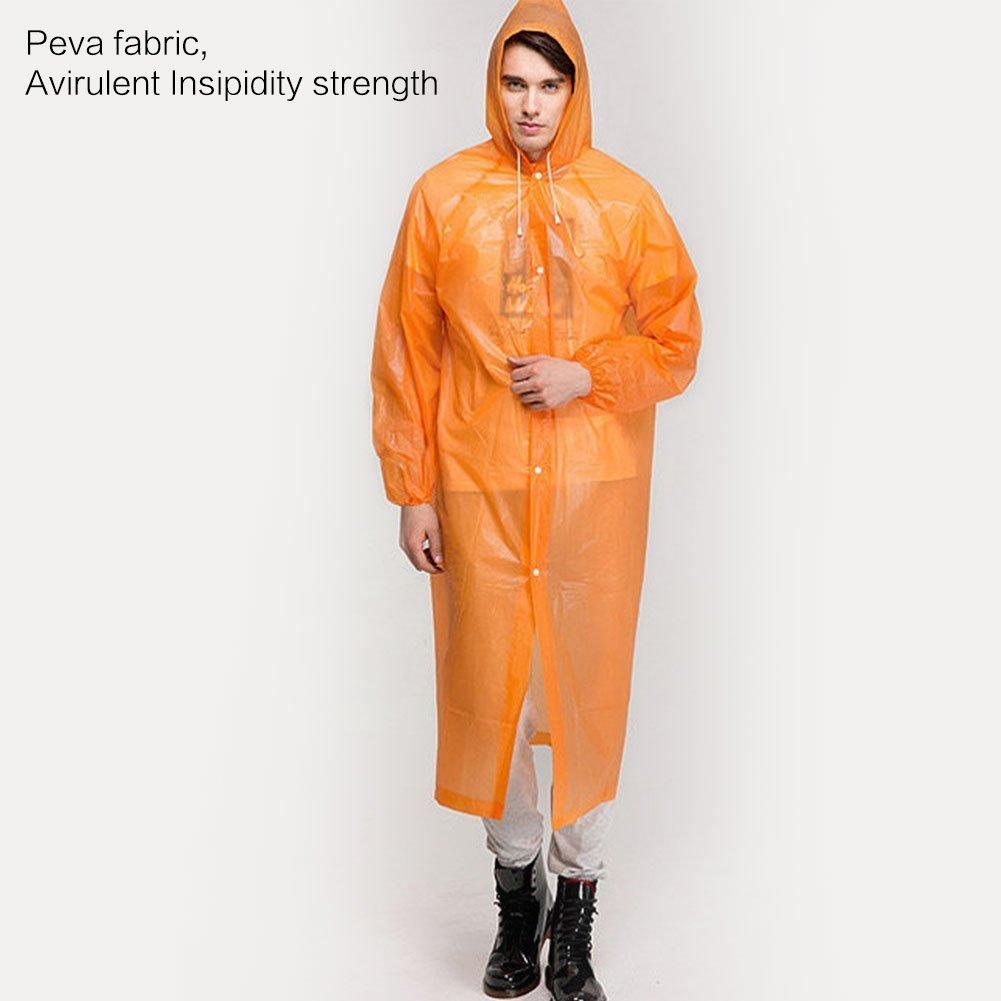 CTKcom 4Pcs Disposable Raincoats,Portable Reusable with Hoods and Sleeves Rain Coats Waterproof Lightweight Rain Coat Perfect for Camping Hiking Sport Outdoor Activities For Men and Women (Orange) by CTKcom (Image #2)