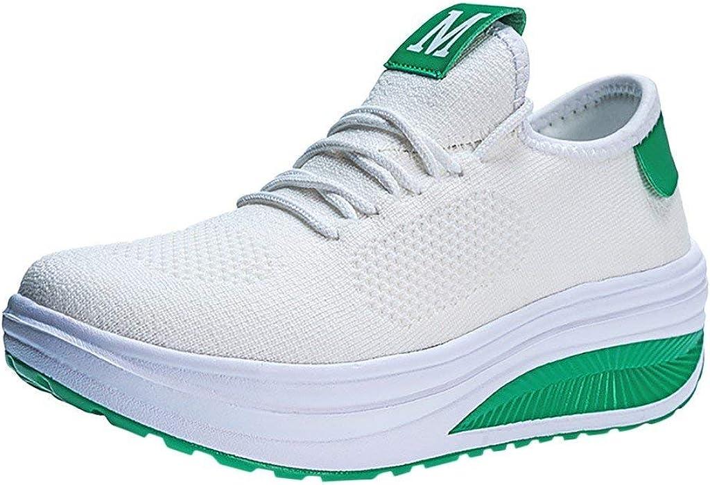 Fannyfuny Mujeres Zapatos para Correr Casuales Zapatillas de Deportivo de Plataforma Sneakers Jogging Low Top Calzado Knit Transpirables Fitness Comodos Zapatillas de Estilo Casual
