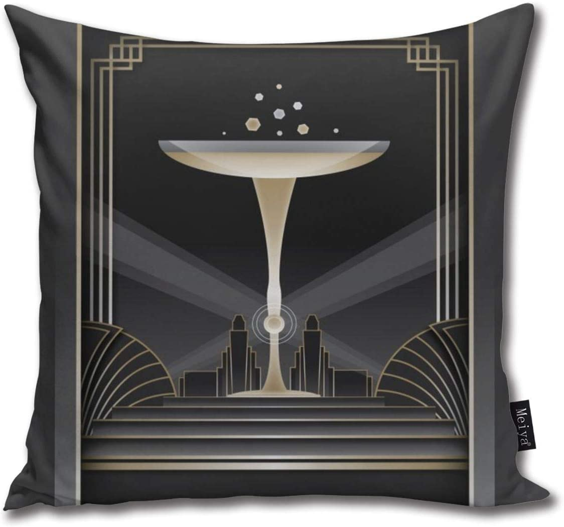 Art Deco Design Vi Pillowcase Home Life Cotton Cushion Case 18 X 18 Inches Bedding Nursery