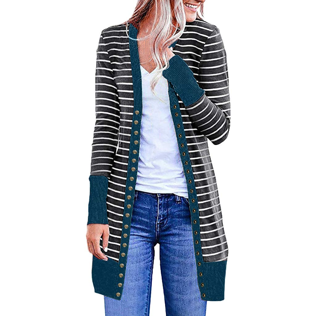 Cardigans for Womens Chaofanjiancai Long Sleeve Solid Snap Button Down Knit Ribbed Neckline Coat (XL, Blue Stripe) by Chaofanjiancai_Coat