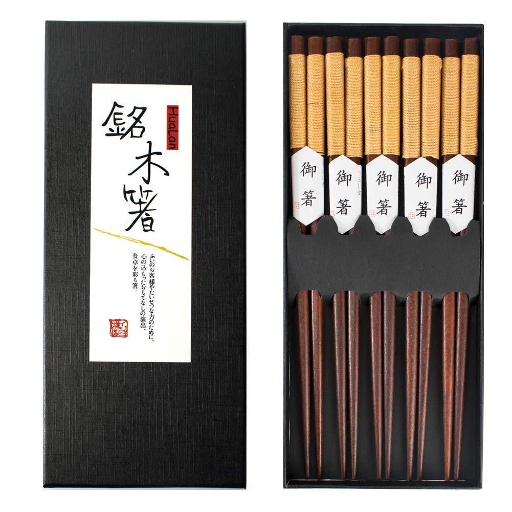 Hualan Natural Wood Chopsticks Series- Healthy and Reusable Japanese Style Chopsticks 5 Pairs Gift Set