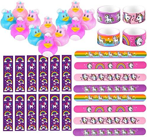 Rainbow Duck (Unicorn Party Favors 36 Piece Bundle Set: 12 Unicorn Rubber Ducks + 12 Rainbow Unicorn Slap Bracelets + 12 Rainbow Unicorn Bookmarks - Unicorn Party Supplies)