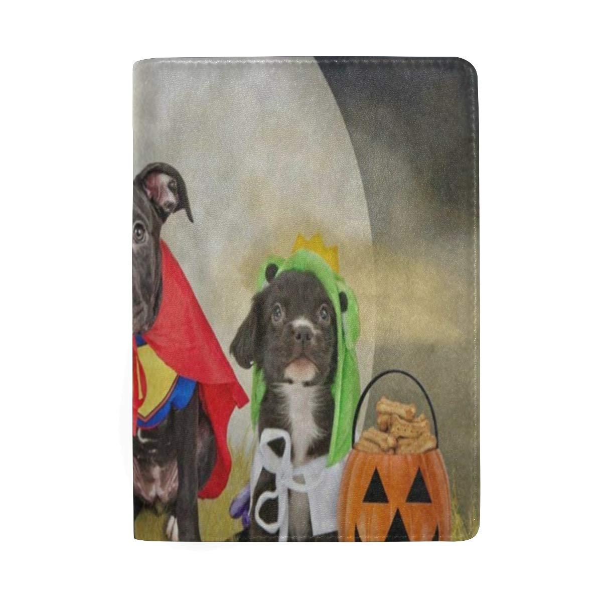 Passport Holder Hipster Puppy Dog Dressed In Halloween Costumes Passport Cover Case Wallet Card Storage Organizer for Men Women Kids