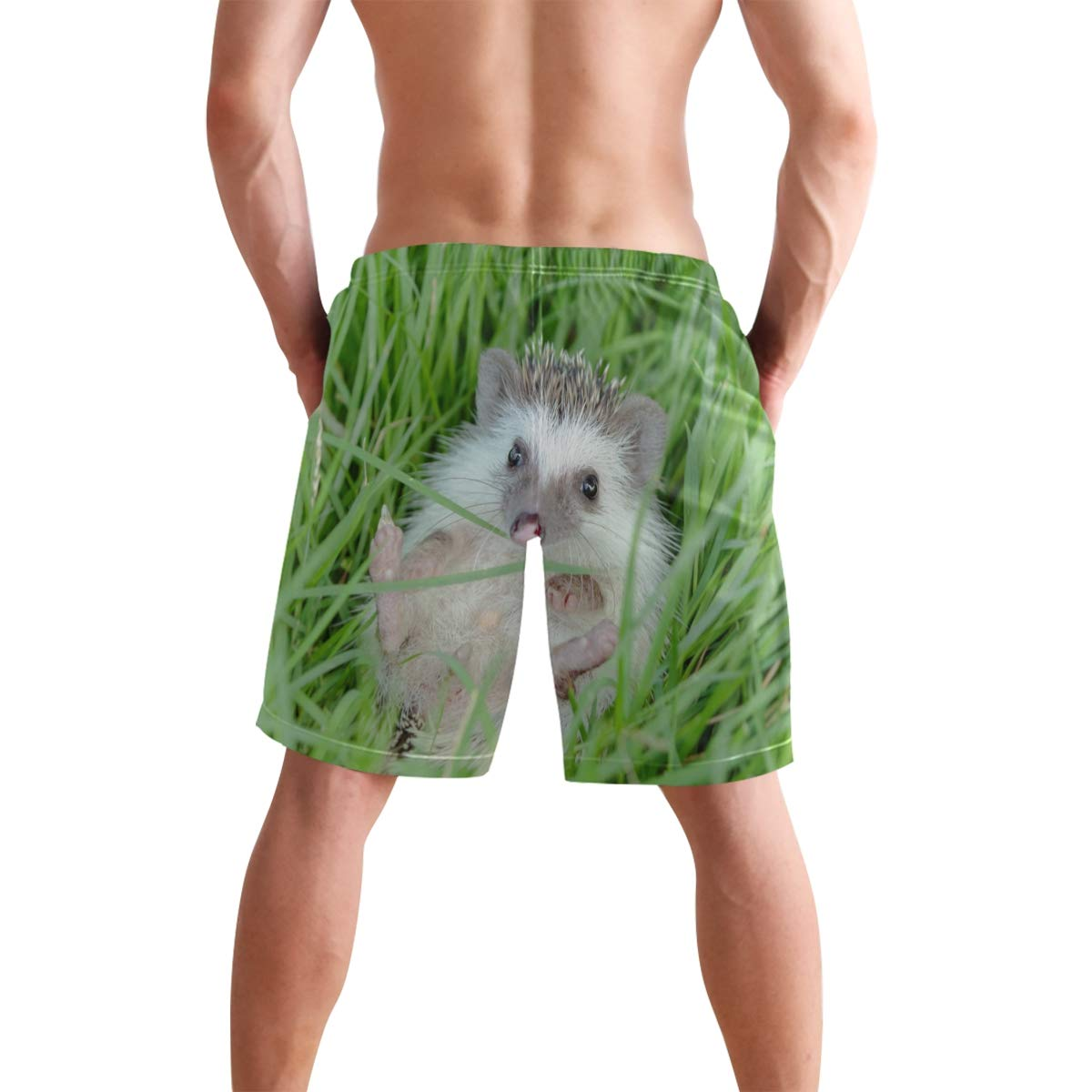 JERECY Mens Swim Trunks Cute Hedgehog Quick Dry Board Shorts with Drawstring and Pockets
