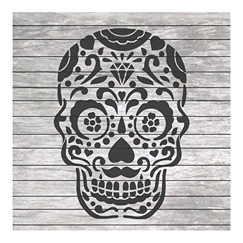 Sugar Skull Day of The Dead Stencil for Craft and Home Decoration CFT008]()