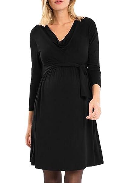 Tayaho Vestido Para Embarazadas Mujer Vestido Premamá Color Solido Vestidos De Noche Elegante Mujeres Dress Manga