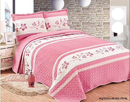 Beautiful Embroidery 3 piece Quilt Set with Shams. Soft All-Season Bedspreads Set & Coverlets Cover Set. (FULL/QUEEN, PINK) (Quilts Bed Beautiful)