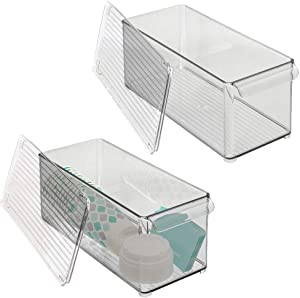 mDesign Plastic Stackable Kitchen Pantry Cabinet, Refrigerator or Freezer Food Storage Bin with Handle, Lid - Organizer for Fruit, Yogurt, Snacks, Pasta - 2 Pack - Clear/Smoke Gray