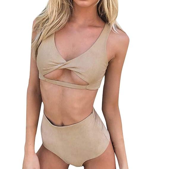 db5273967845 Poachers Traje de baño Mujer Color sólido Cintura Alta Arco Cintura ...