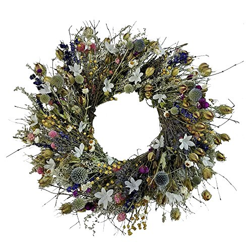 Wreath Hydrangea Dried - Fairy Garden Dried Flower Wreath Hand Made in The USA 22 Inch for Front Door