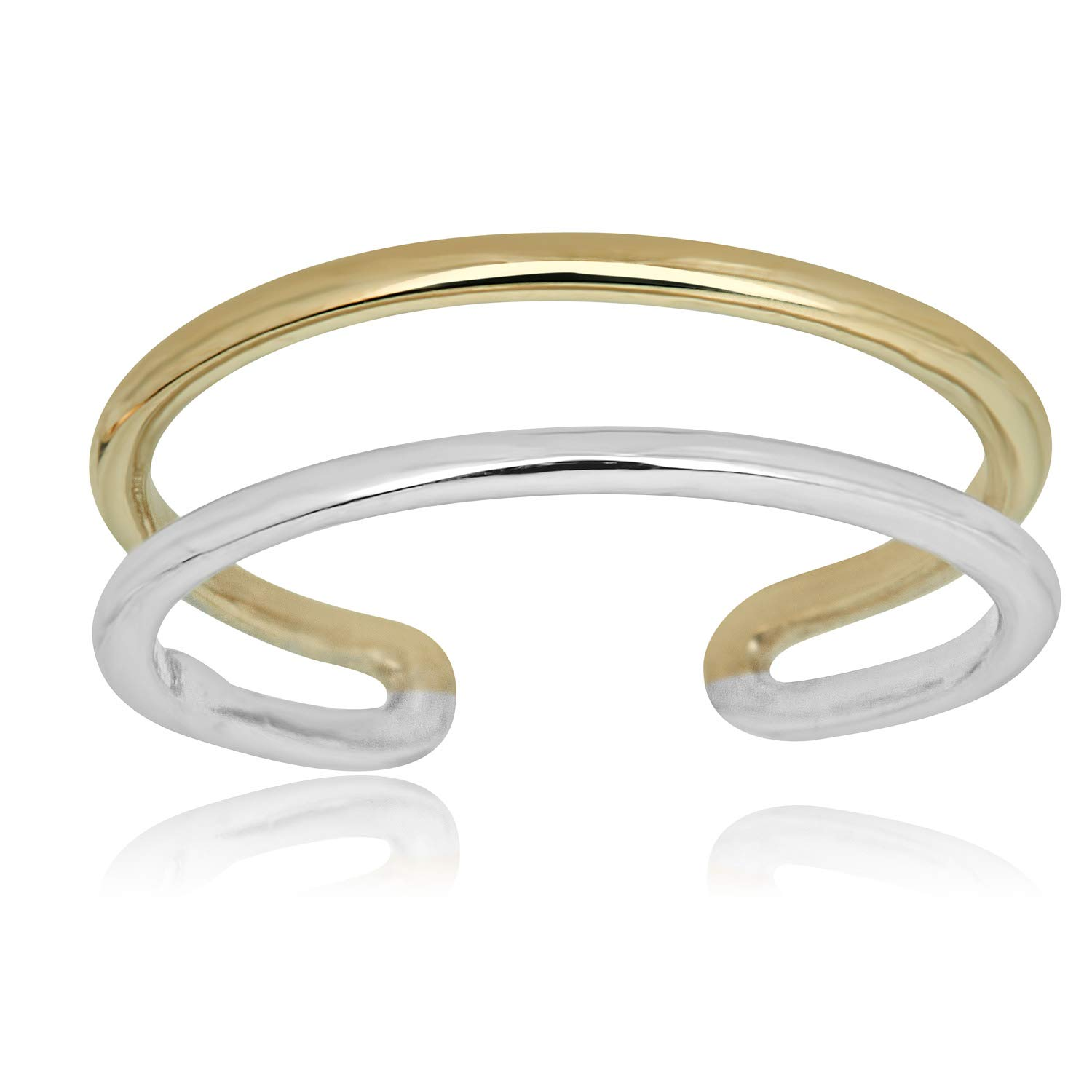 AVORA 10K Gold Two-Tone Two Row Minimalist Adjustable Toe Ring