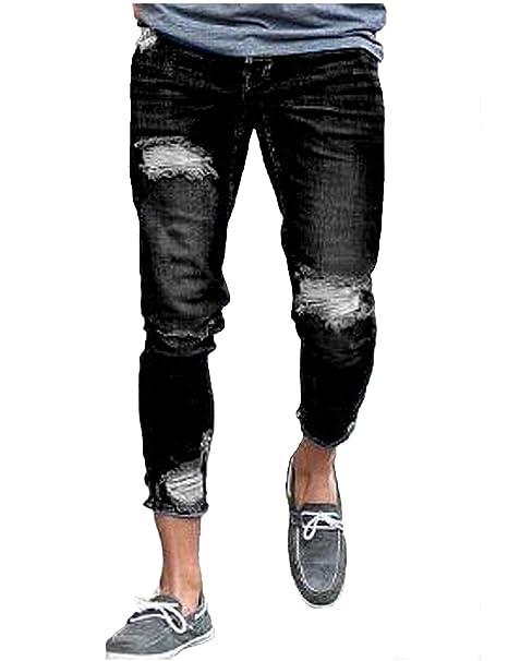 Pantaloni Casual con Strappi alla Moda da Uomo Taglie Comode Pantaloni alla  Moda Strappati alla Moda Vintage Pantaloni Lunghi in Denim Abiti   Amazon.it  ... 01fbd840d68