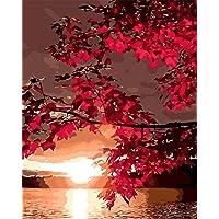 Wdcj Acero Rosso Lascia la Pittura di Paesaggio di collina con i Numeri Mano Vernice dipingere da Numero Tela Pittura Immagine Home Decor Disegno