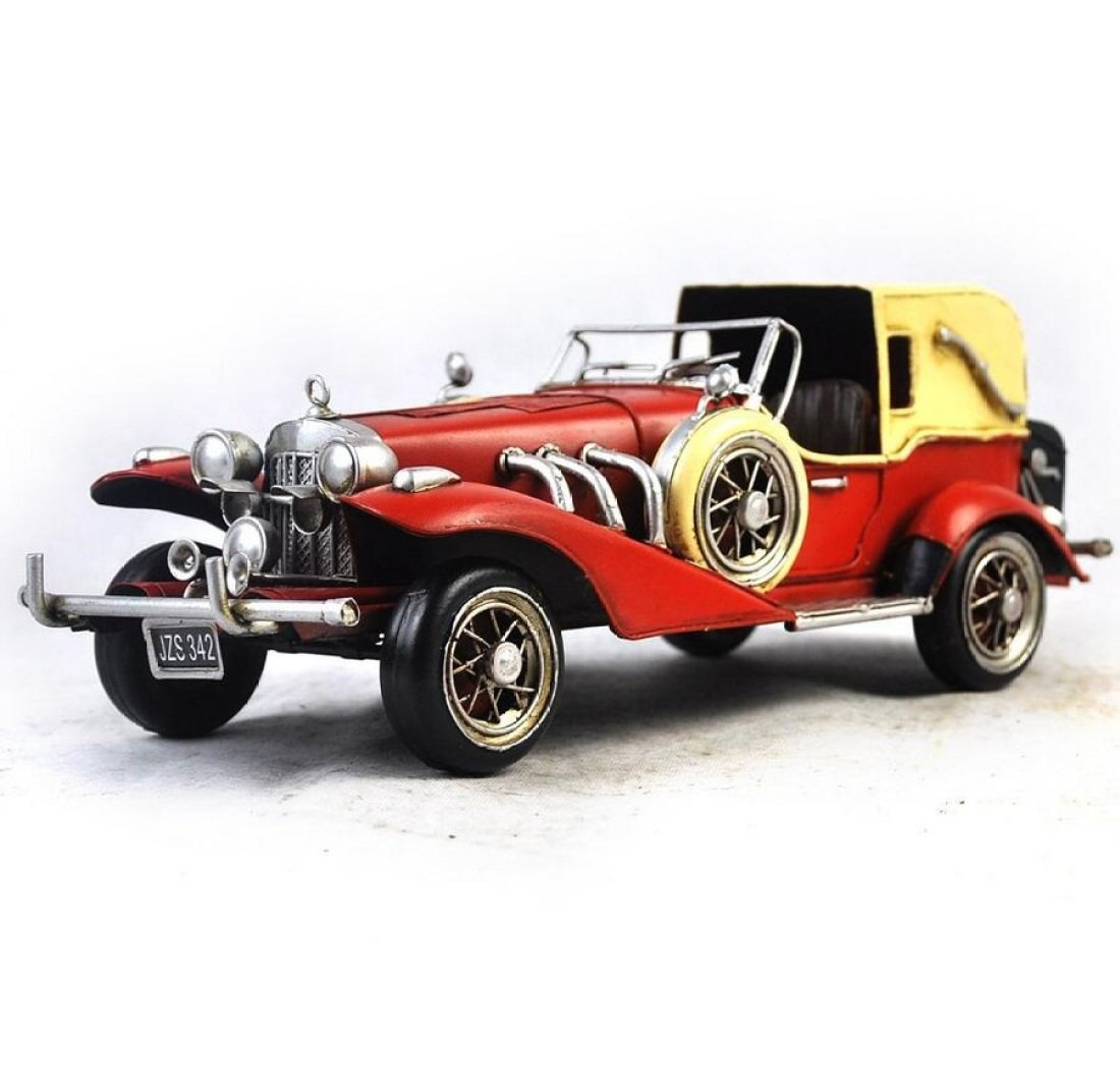 GL&G Retro manual Iron art red car model Home Decorations festival gift bar Cafe metal Crafts Tabletop Scenes Collectible Vehicles Ornaments Keepsakes,3515.514.5cm