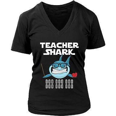 41aafb2c Teacher Shark Women V-Neck Shirt Doo Doo Plus Size XL-4XL VnSupertramp  Apparel