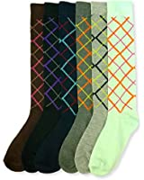 Mamia Women's Fancy Design Multi Color Knee High Socks (6 pairs)