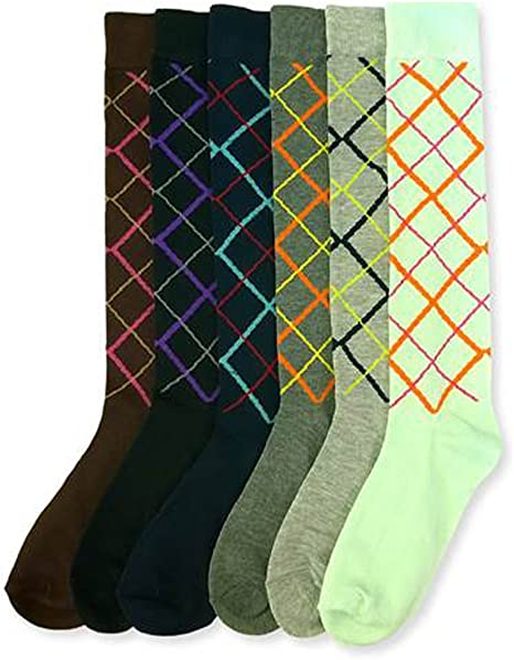 Assorted Sock Size 9-11 Ladies Colorful Cotton Knee High Fashion Socks
