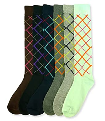 fed6c95ee Mamia 6 Pack Women Multi Pattern Playful and Colorful Knee High Socks (AR2