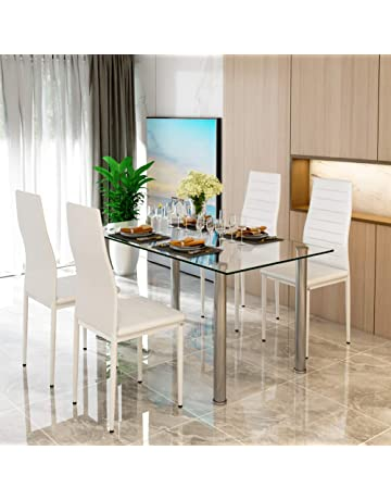 Glass Dining Table Set And 4 White Faux Leather Thick Foam Ribbed High Back Chairs
